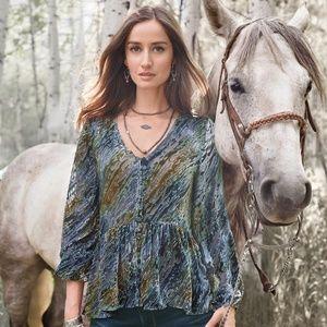 Sundance Velvet Riches Blouse, S, Blue Multi, NEW